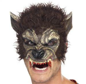 Halloween Half Face Werewolf Mask - Brown