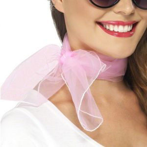Ladies 50s Fancy Dress Neck Scarf - Pink