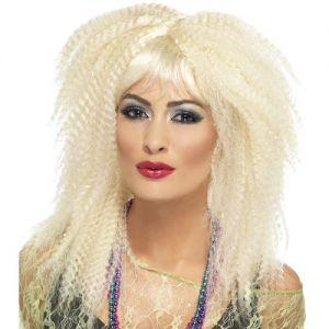 80's Blonde Crimp Fancy Dress Wig