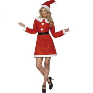 Christmas Ladies Miss Santa Costume & Hat - S & M