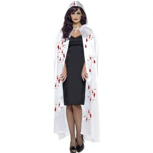 Halloween Hooded Fabric Vampire Cape - White with Blood Spatter