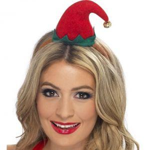 Christmas Fancy Dress - Mini Elf Hat on Band - Red/Green