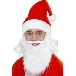Christmas Fancy Dress Santa Set - Hat with Hair, Tash & Beard & Glasses