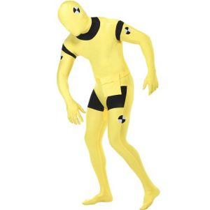 Crash Test Dummy Second Skin Full Body Zentai Suit - Yellow/Black - M & L