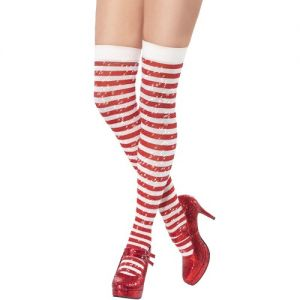 Christmas Fancy Dress Sparkle Stockings - White/Red Striped