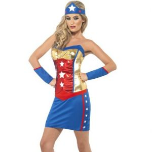 1980s Fancy Dress Super Hot Hero Costume