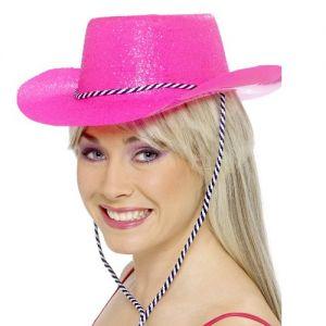 Glitter Cowboy Hat - Neon Pink