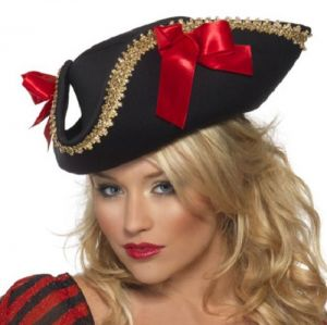 Ladies Pirate Fancy Dress Hat with Ribbon & Trim