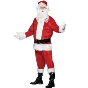 Christmas Fancy Dress - Mens Super Deluxe Santa Costume - M, L & XL