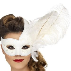 Masquerade Ball Ornate White Colombina Mask with Feather