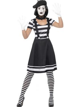 Ladies Mime Artist Fancy Dress Costume
