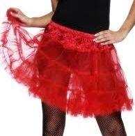 Ladies Fancy Dress - 80s Petticoat Tutu - Red