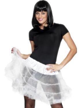 Ladies Fancy Dress - 80s Petticoat Tutu - White