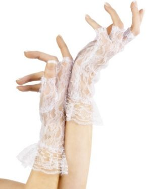 80s Fancy Dress Lace Fingerless Madonna Gloves - White