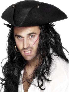 Pirate Fancy Dress - Tricorn Hat - Black