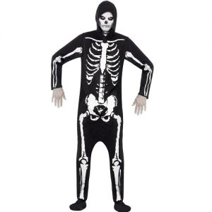Mens Skeleton Onesie Costume - S, M or L