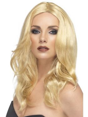 Ladies Superstar Long Wavy Fancy Dress Wig - Blonde