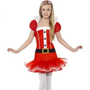 Christmas Fancy Dress - Chilrdrens Miss Santa Tutu Dress & Bolero Costume - M (Age 7-9 Yrs) & L (10-12 Years)