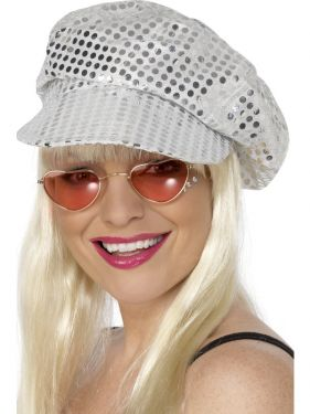 70s Fancy Dress - Ladies Disco Mod Hat - Silver