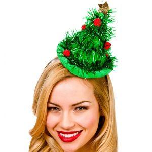 Mini Christmas Tree Tinsel Hat on Headband