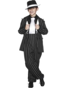 Childrens Boys Gangster Costume - M & L