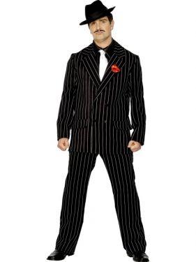 Mens Gangster Zoot Suit Costume - Black - M & L