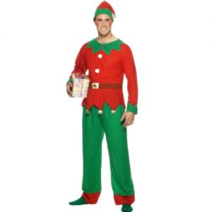 Christmas Fancy Dress Mens Elf Costume