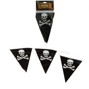 Pirate Fancy Dress Bunting with Flags - Black/White