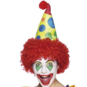 Clown Fancy Dress Fabric Hat with Red Hair
