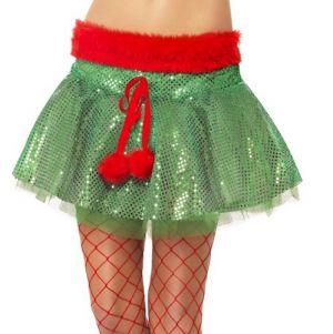 Christmas Fancy Dress Sequin Elf Tutu - Green/Red