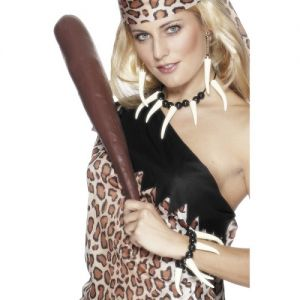 Fancy Dress Cavewoman Teeth Necklace & Wristband Set