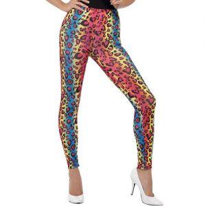 80s Fancy Dress Neon Leopard Print Leggings