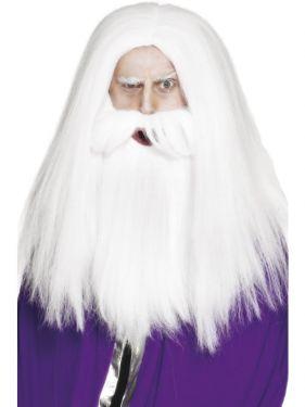 Wizard or Magician Fancy Dress Wig & Beard Set