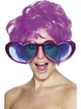 70s Fancy Dress - Jumbo Funky Heart Glasses - Assorted Colours
