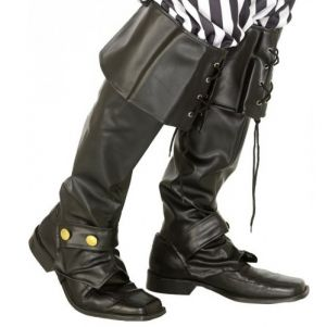 Pirate Fancy Dress Deluxe Bootcovers - Black