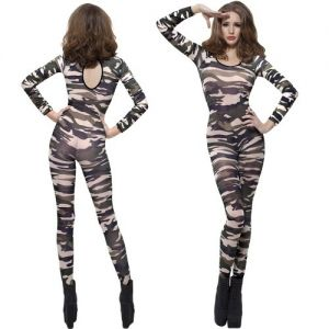 Adult Camo Print Bodysuit - 8 to 14