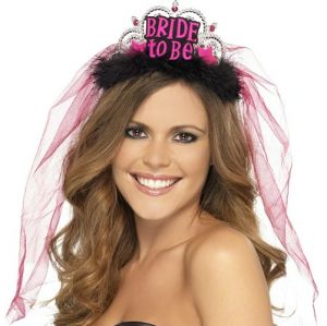 Hen Party Bride to Be Tiara with Veil - Silver/Black/Pink