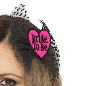 Hen Party Bride to Be Hair Bow - Black/Pink