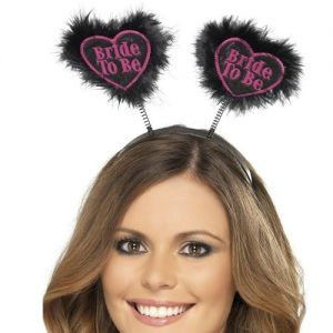 Hen Party Bride to Be Love Heart Head Boppers - Black/Pink