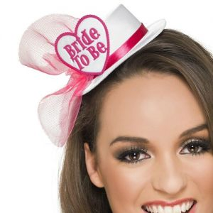 Hen Party Bride to Be Mini Hat - White/Pink