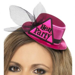 Hen Party Mini Hat with Hairclip and Veil - Pink/Black