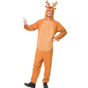 Mens Reindeer Rudolf Onesie Costume - S, M, L & XL