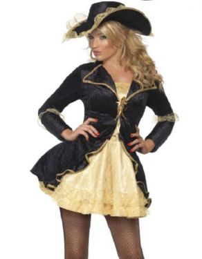 Ladies Sexy Fever Pirate Swashbuckler Costume - S, M & L