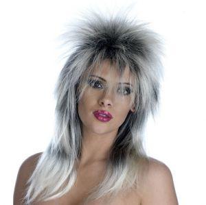 80s Glam Rock Fancy Dress Wig - Silver/Black