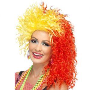 80s Fun Girl Cyndi Fancy Dress Wig - Red/Yellow