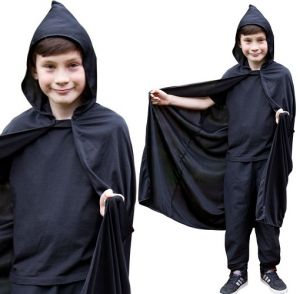 Childrens Hooded Fabric Cape - Black