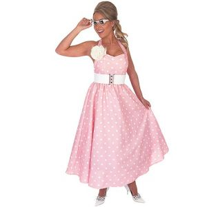 Ladies 50s Polka Dot Day Dress Fancy Dress Costume