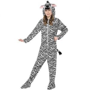 Childrens Zebra Onesie Fancy Dress Costume - White/Black - S, M & L