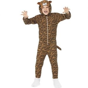 Childrens Tiger Onesie Fancy Dress Costume - Brown - S, M & L
