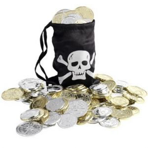 Pirate Fancy Dress Coin Bag & Coins